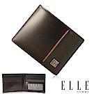 福利品 ELLE 法式精品頭層皮鈔票/卡片多格層短夾- 咖啡色