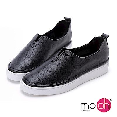 mo.oh-全真皮-韓國牛皮厚底休閒鞋-黑色