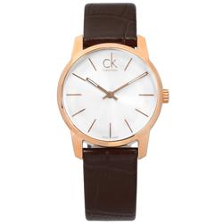 CK City 城市都會時尚皮革手錶-銀x玫瑰金框x咖啡/31mm