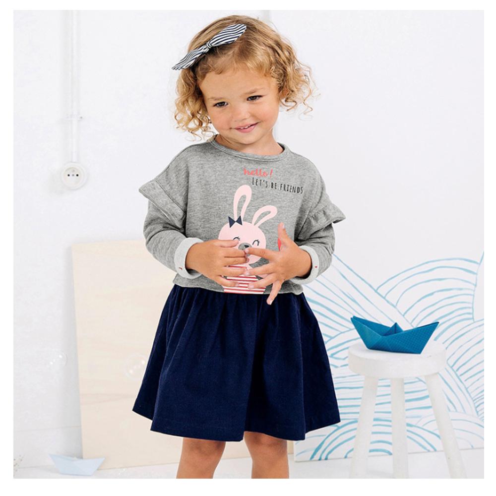 歐美little maven 女童純棉長袖長版T恤連身裙-小兔子