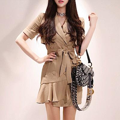 DABI 韓系氣質雙排扣修身西裝領系帶外套短袖洋裝