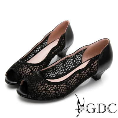 GDC-真皮魚口簍空水鑽低跟鞋-黑色