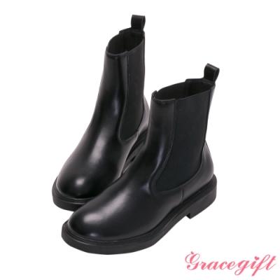 Grace gift-微厚底切爾西低跟短靴 黑