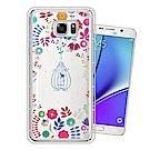 Samsung Galaxy Note5 奧地利水晶彩繪空壓手機殼(鳥羽花萃)