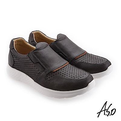 A.S.O 活力雙核心 磨面珠光皮革休閒鞋 深灰