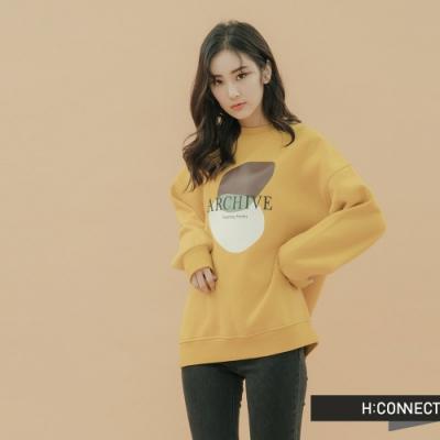 H:CONNECT 韓國品牌 女裝-圖印標語落肩大學T-黃