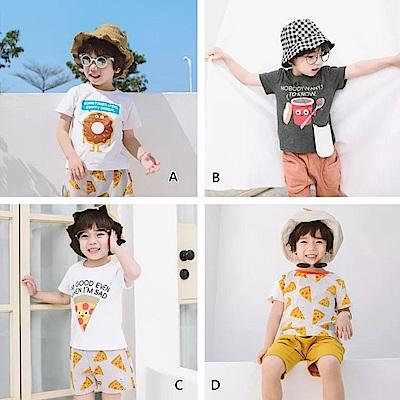 小衣衫童裝    兒童全棉甜甜圈PIZZA印花短袖上衣1070334