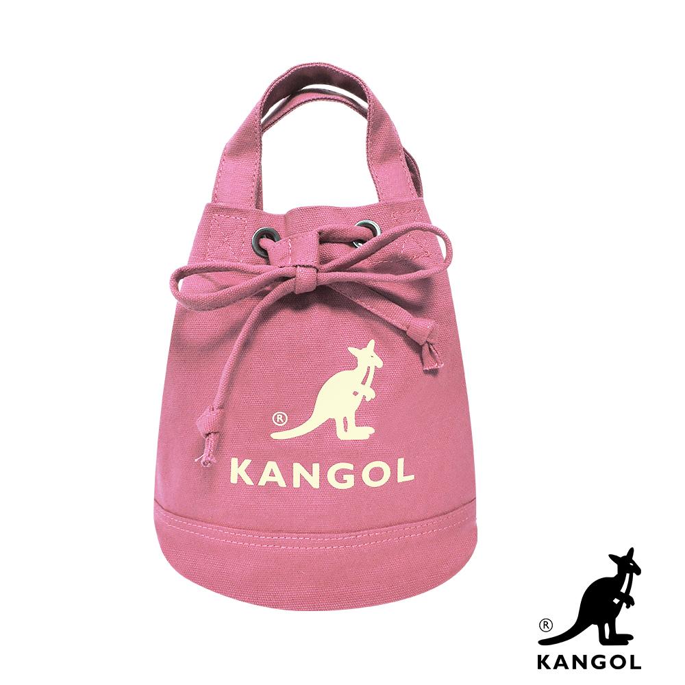 福利品 KANGOL 韓版玩色系列-帆布斜背水桶包-粉紅