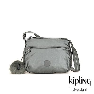 Kipling 金屬墨灰色前後大拉練方形側背包-小-CORA S