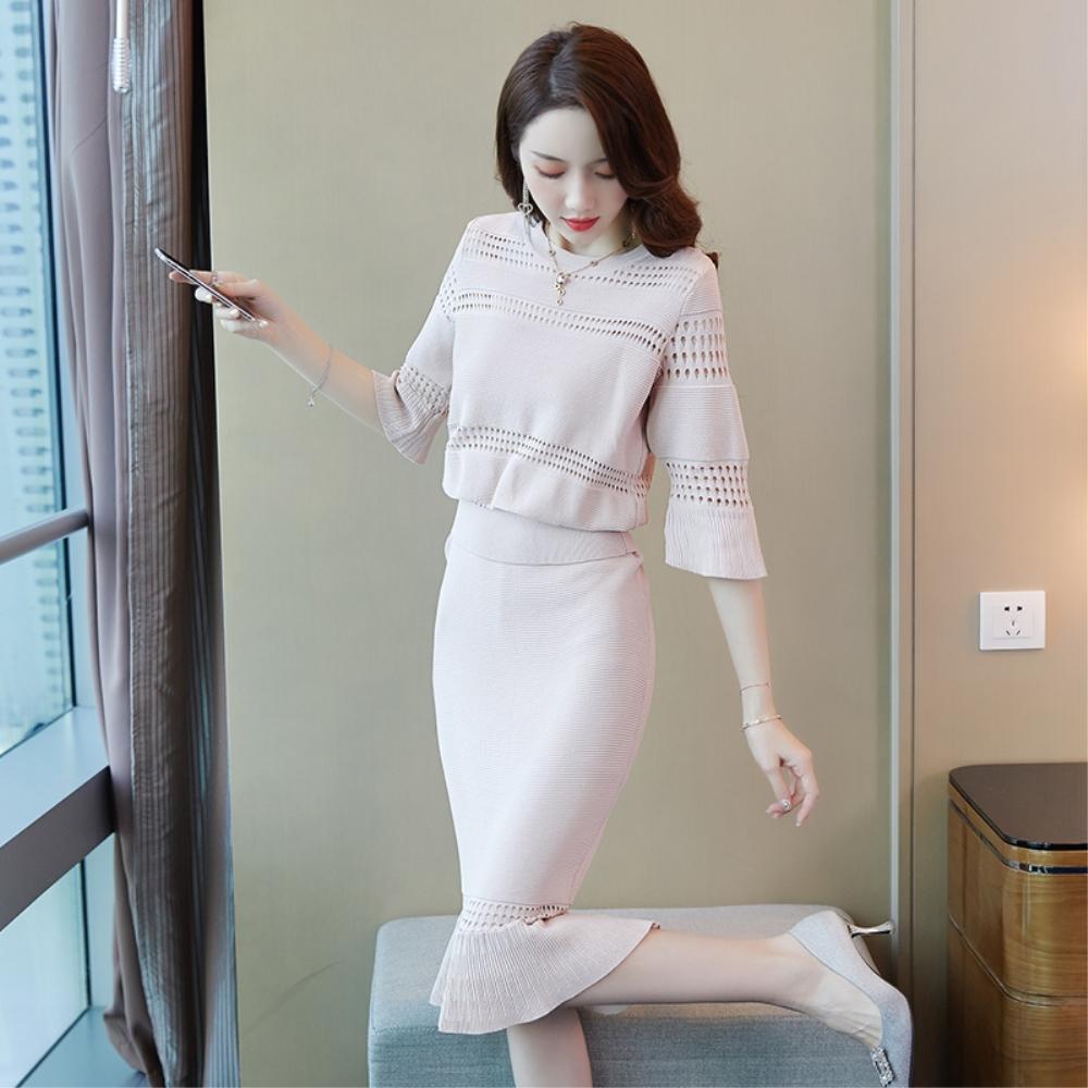 DABI 韓系針織縷空袖拼接收腰顯瘦氣質套裝長袖裙裝
