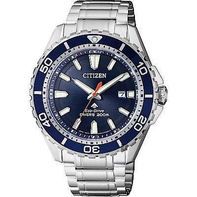 CITIZEN 星辰 PROMASTER 光動能200米潛水錶-藍x銀/44mm BN0191-80L