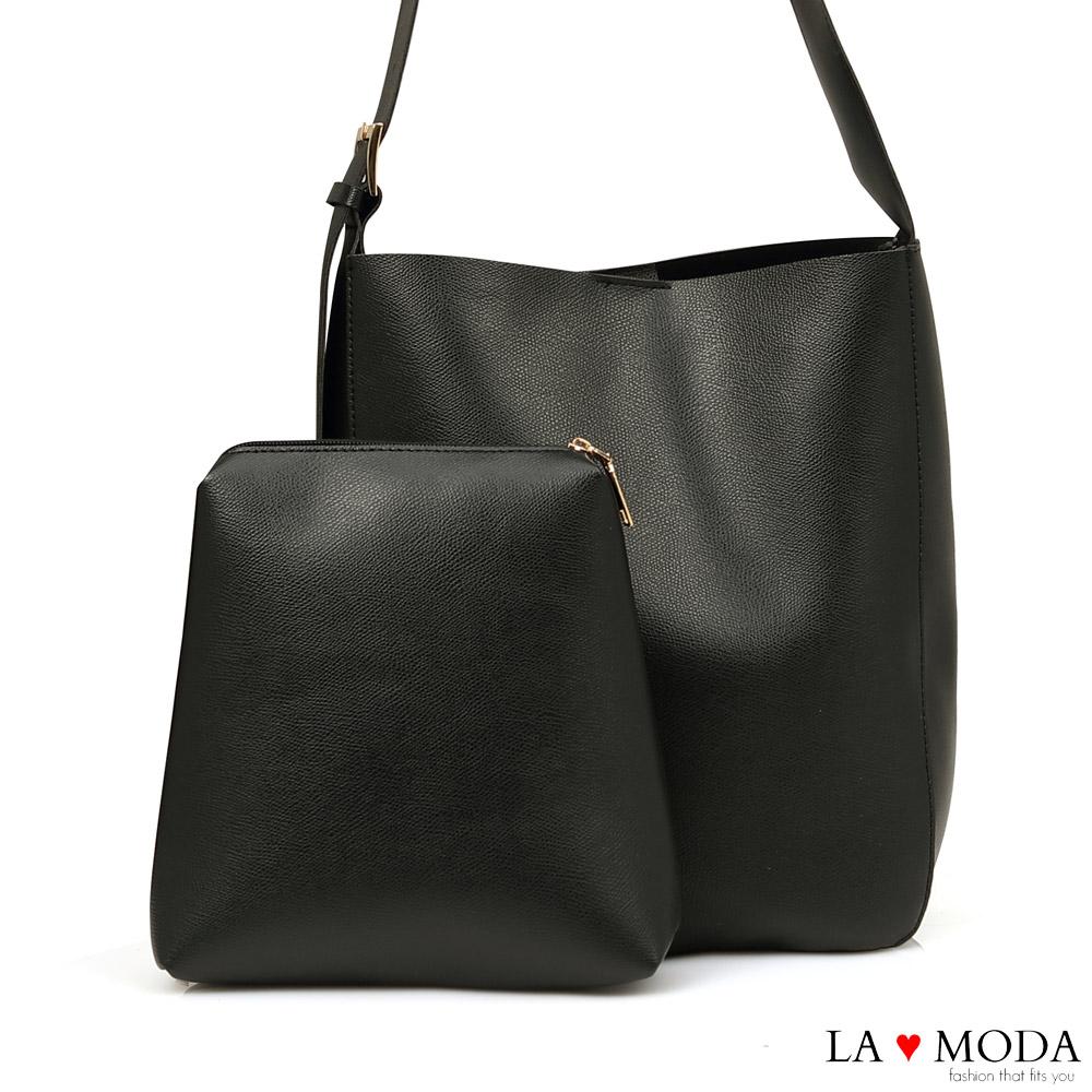 La Moda 質感超熱銷大容量肩背斜背子母包(黑)