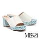 拖鞋 MISS 21 潮感90系少女混搭復古方頭粗高跟拖鞋-白 product thumbnail 1