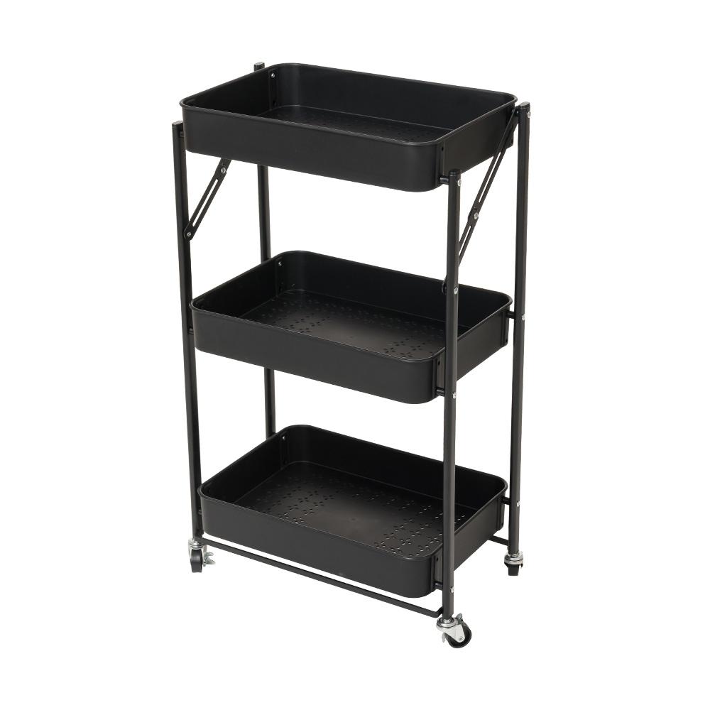 樂嫚妮 耐重免安裝折疊收納推車/ 餐推車/三層活動置物收納架-黑