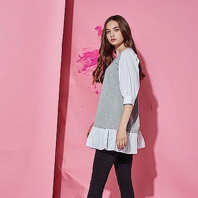 Hana+花木馬 無印簡約系荷葉波浪拼接七分袖棉製長版造型上衣-灰(共2色)