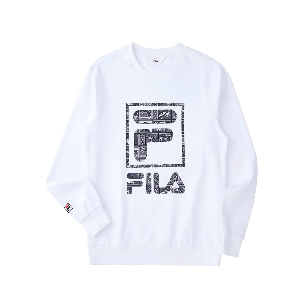 FILA 長袖圓領T恤-白色 1TEU-5506-WT