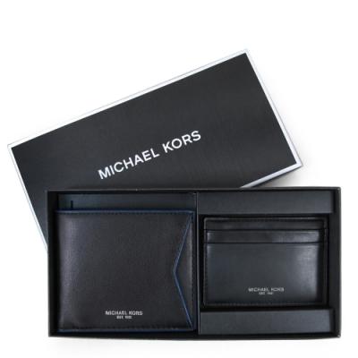 MICHAEL KORS Gifting 燙銀Logo全皮革男夾證件卡夾禮盒組(黑色)