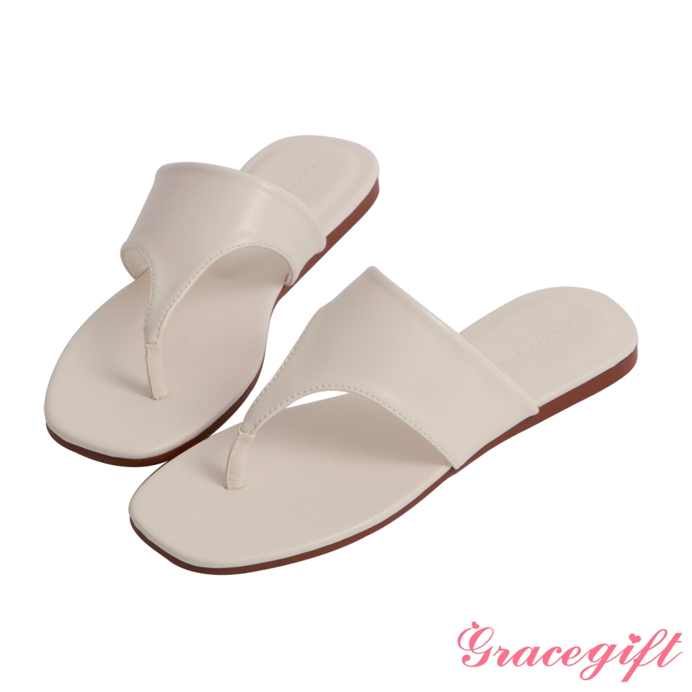 Grace gift-人字寬版平底涼拖鞋 米白