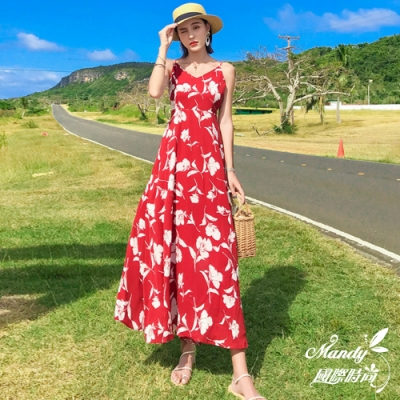 Mandy國際時尚 無袖洋裝 印花雪紡渡假沙灘海邊露背連衣長裙