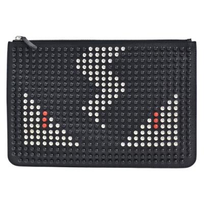 FENDI 經典鉚釘排列裝飾MONSTER怪獸造型牛皮拉鍊手拿包(黑)