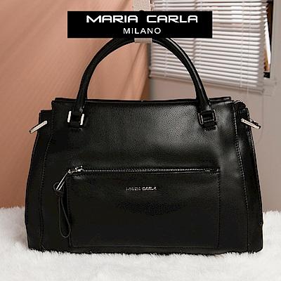 Maria Carla 手提側背包-牛皮機車包_知性OL系列(漆黑)