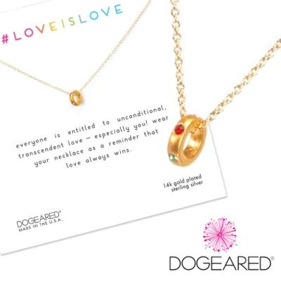 Dogeared love is love 彩虹水晶迷你圓圈項鍊 金色 愛最大 附原廠盒