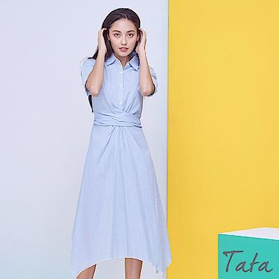 交叉抓褶排扣條紋洋裝 TATA