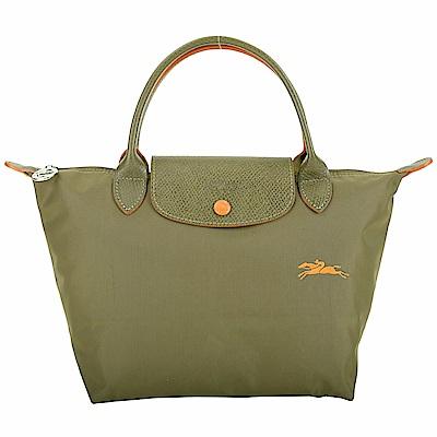LONGCHAMP Le Pliage 奔馬刺繡短提把水餃包(橄欖綠)