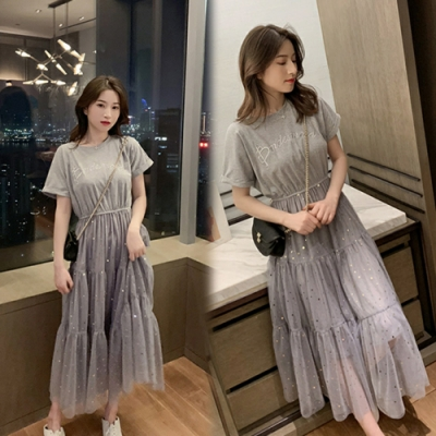 【韓國K.W.】韓國氣質經典百搭網紗洋裝-2色