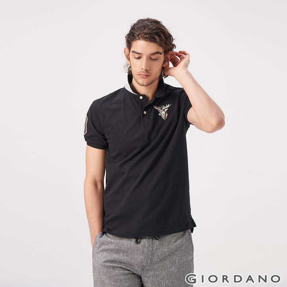 GIORDANO 男裝麋鹿漸層刺繡短袖POLO衫-09 標誌黑