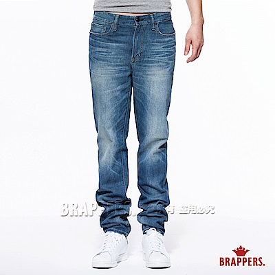 BRAPPERS 男款 HM中腰系列-男用中腰中直筒褲-復古藍