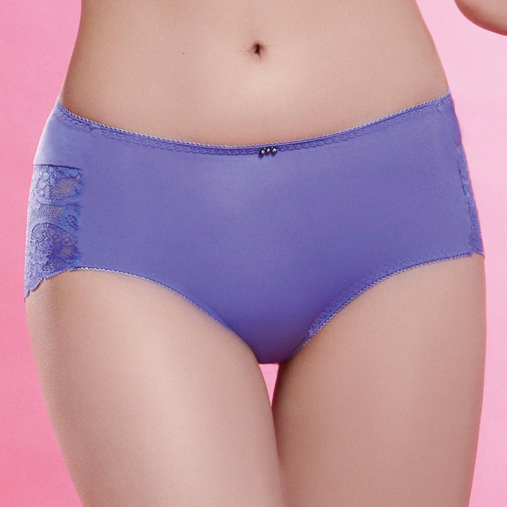 推EASY SHOP-愛上夢幻蕾絲 中腰平口褲(紫晶色)