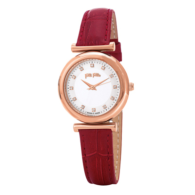 Folli Follie 典雅浪漫晶鑽腕錶-紅(WF16R022SSS-RE)