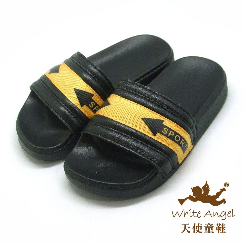 天使童鞋 小型男運動風拖鞋(中童)D949-黃