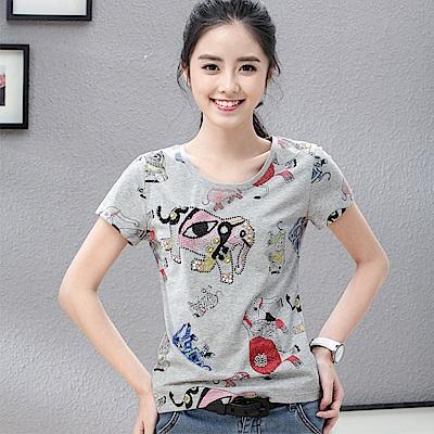 初色  大象圖案圓領T恤-共2色-(M-2XL可選)