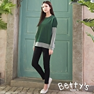 betty's貝蒂思 純色簡約鬆緊長褲(黑色)