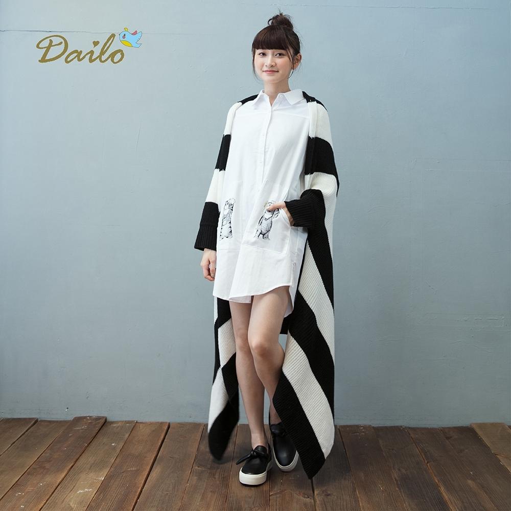 【Dailo】大條紋長版-針織衫外套(三色)