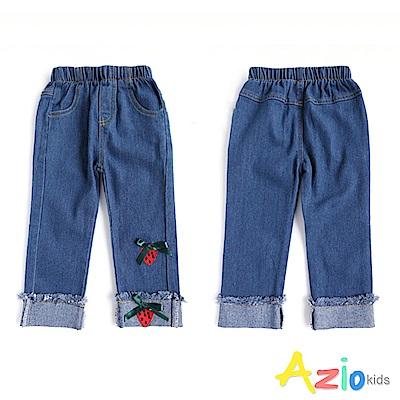 Azio Kids 褲子 草莓蝴蝶結反摺鬆緊牛仔長褲(牛藍)