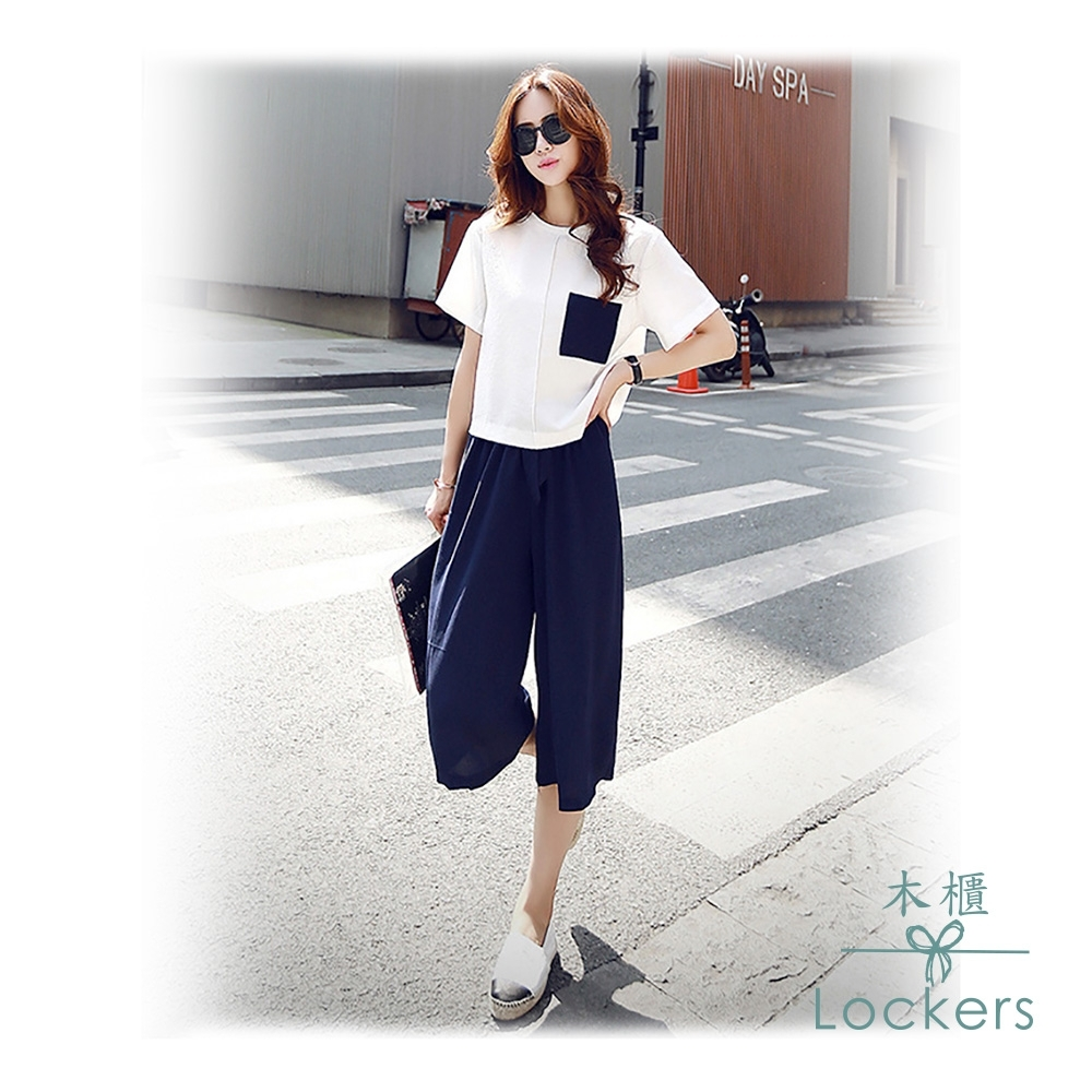 Lockers木櫃 上衣短袖+闊腿褲七分兩件套裝(白+藍)