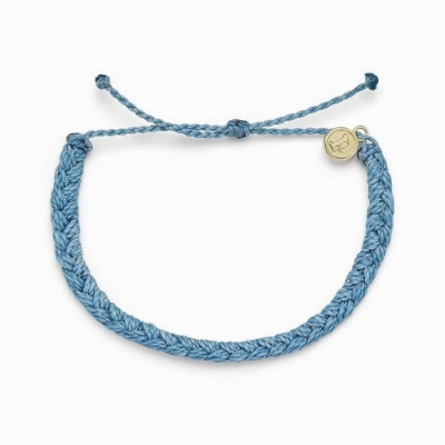 Pura Vida 美國手工 SKY BLUE 天空藍粗線編織可調式衝浪手環