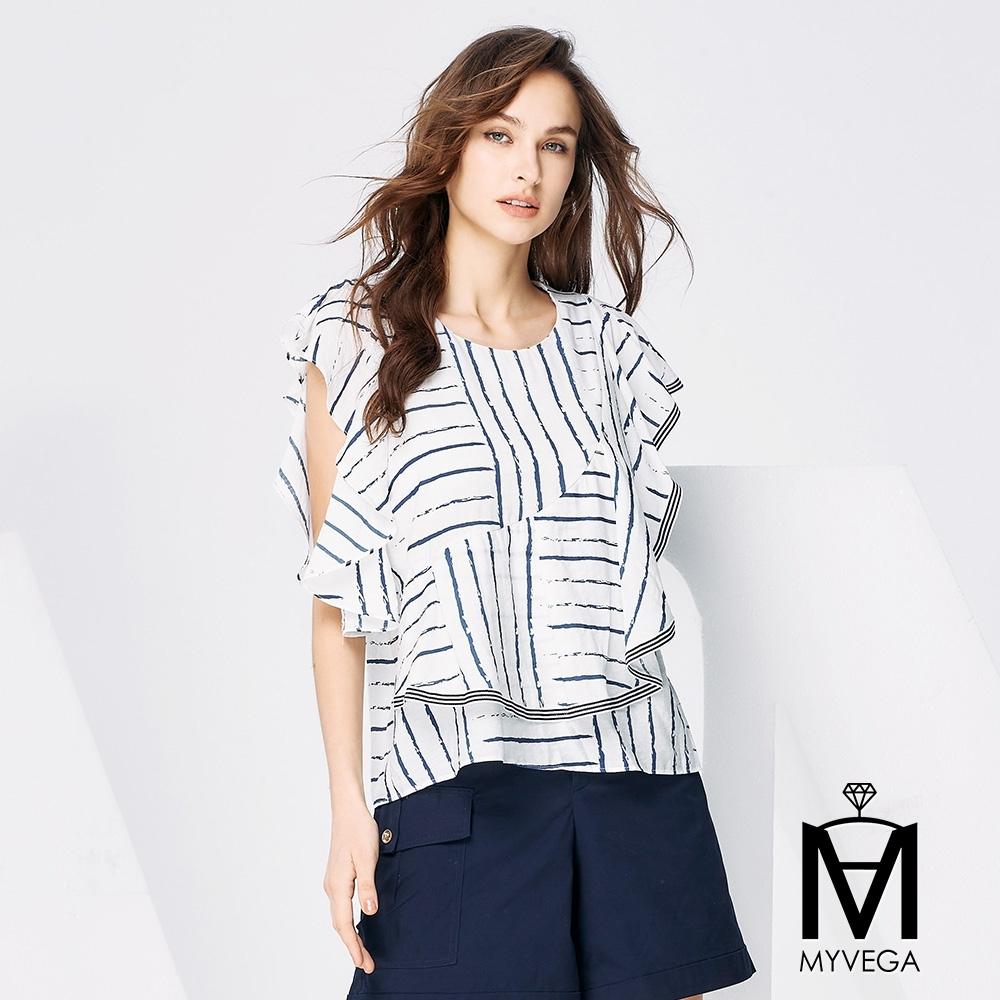 MYVEGA麥雪爾 MA不規則線條造型上衣-白
