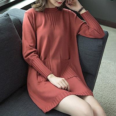 素雅純色氣質針織洋裝-M~3XL(共六色)-糖潮