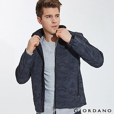 GIORDANO 男裝連帽立領內植絨休閒外套-56 迷彩灰X標誌黑