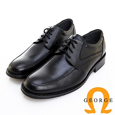 GEORGE 喬治皮鞋 經典系列 素面圓頭繫帶紳士鞋 -黑