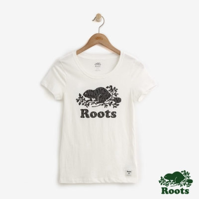ROOTS女裝 反光海狸LOGO短袖T恤-白