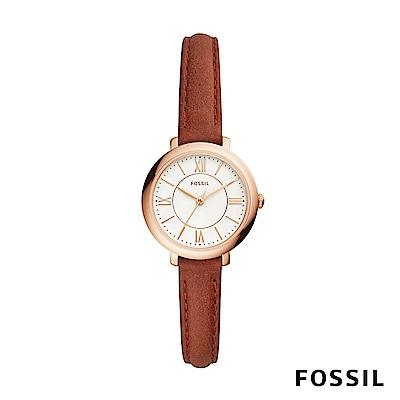 FOSSIL JACQUELINE 棕色皮革女錶 27mm ES4412