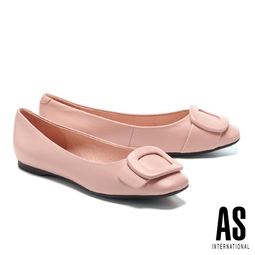 平底鞋 AS 優雅氣質方型帶釦全真皮方頭平底鞋-粉