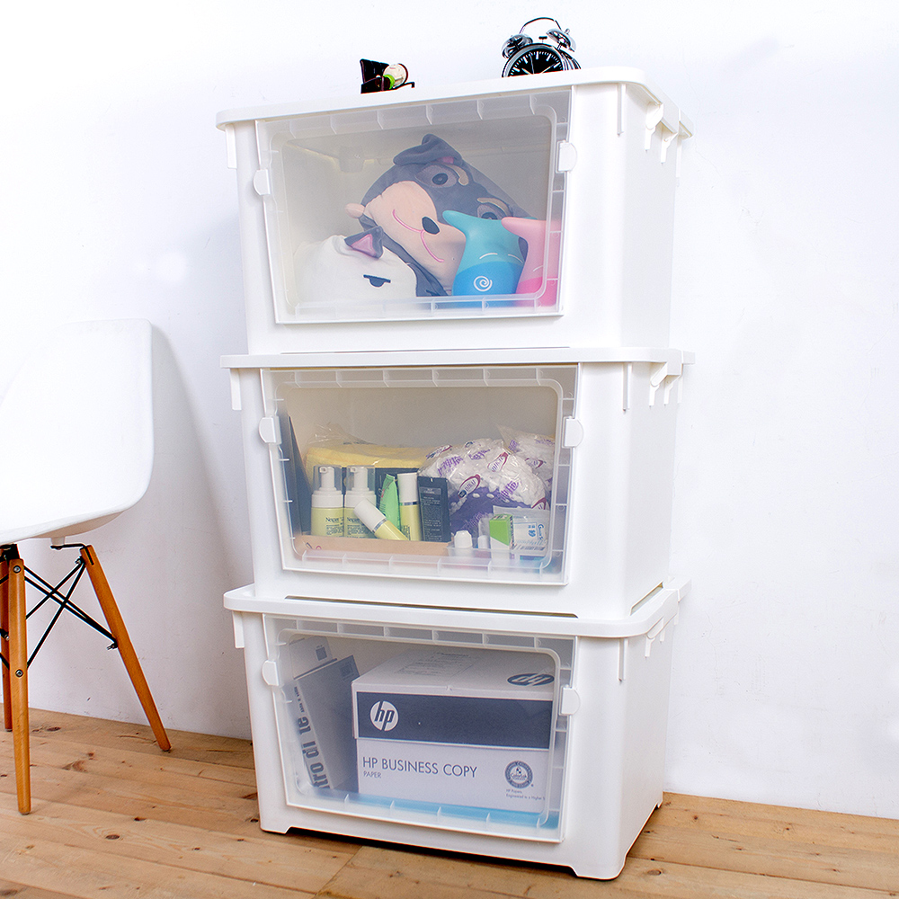 【Mr.box】雙開大容量居家收納整理箱滑輪箱-3入 (兩色可選) product image 1