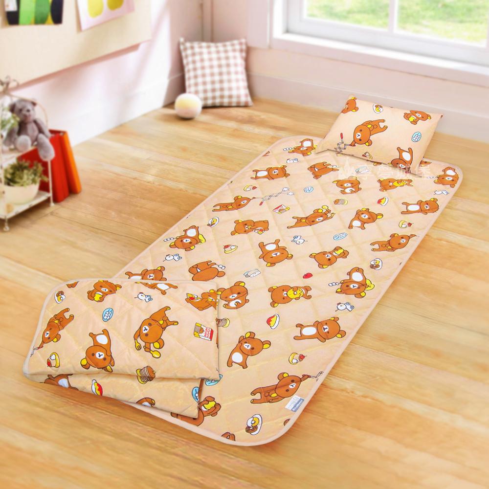 享夢城堡 兒童卡通涼被童枕睡墊三件組-拉拉熊Rilakkuma 吃點心-米黃