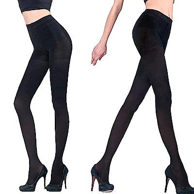 Amiss MIT塑腹美臀X波浪防滑厚款天鵝絨保暖褲襪(黑)2入(1170-31)